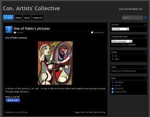 Con. Artists' Collective - screen shot dark theme